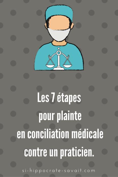 Les 7 étapes pour plainte en conciliation médicale contre un praticien.