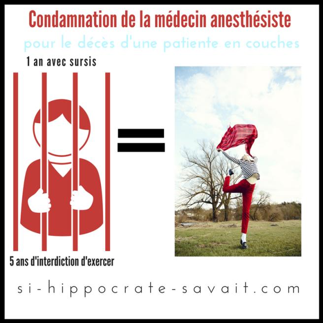 Condamnationde la médecin anesthésiste
